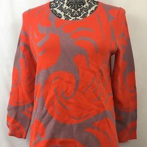 Ann Taylor orange and tan damask sweater size m